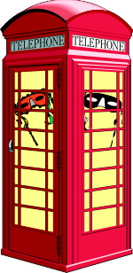 Telephone box with masks